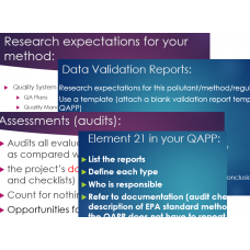 Quality Assurance Project Plans (207): Assessing & Reporting